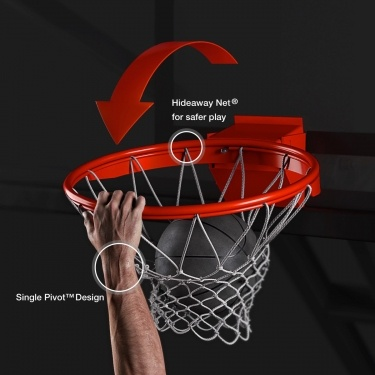 Hideaway Net® for safer play. Single Pivot™ Design