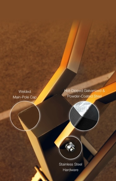 Welded Main-Pole Cap. Stainless Steel Hardware. Hot-Dip Galvanized & Powder-Coated Steel