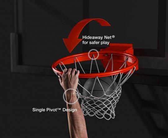 Hideaway Net® for safer play. Single Pivot™Design
